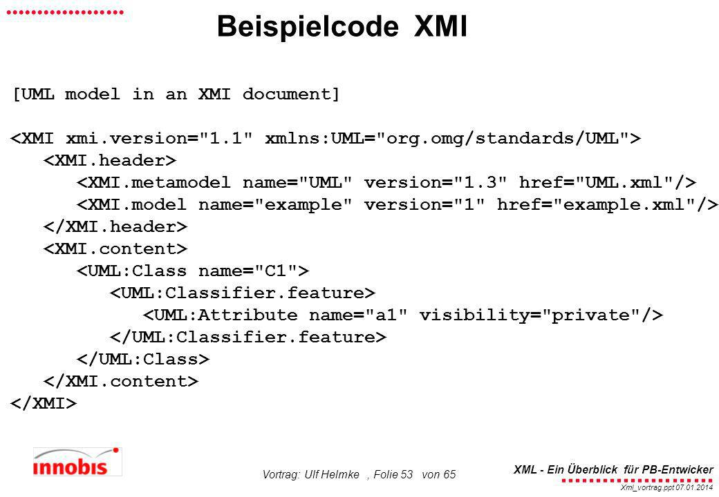 Beispielcode XMI [UML model in an XMI document]
